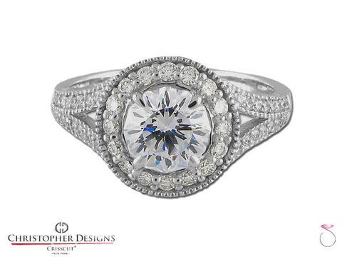 Christopher Designs Crisscut Round Diamond Ring 1.50ctw