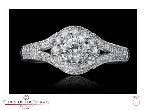 Christopher Designs Diamond Halo Engagement Ring G2-RD100