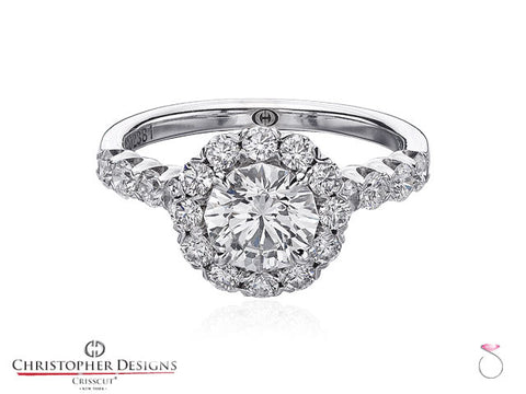 1.91ct Christopher Designs Round Halo Engagement Ring
