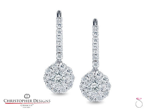 1.25 ct. Round Crisscut Diamond Halo Dangling Earrings G52ERF