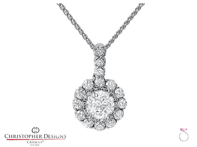 0.70 ct. Christopher Designs Diamond Halo pendant. Style # G52P