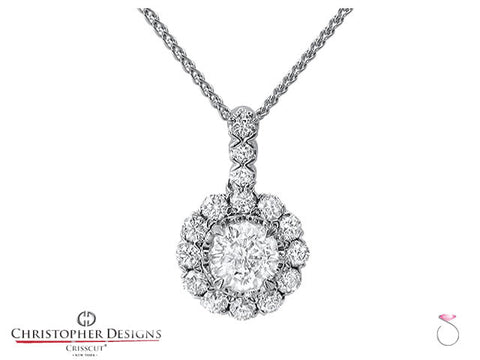 0.70 ct. Christopher Designs Diamond Halo pendant G52P
