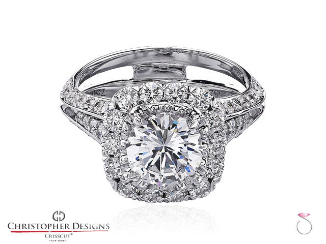 Christopher Designs Crisscut Round Diamond Ring 2.64ctw in 18K