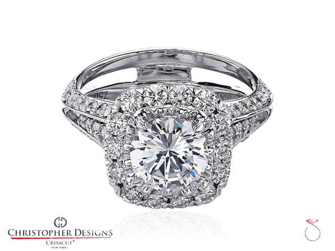 Christopher Designs Crisscut Round Diamond Ring 2.64ctw