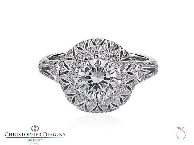 Christopher Designs Fancy Halo Diamond Engagement Ring Style: G66R-RD050
