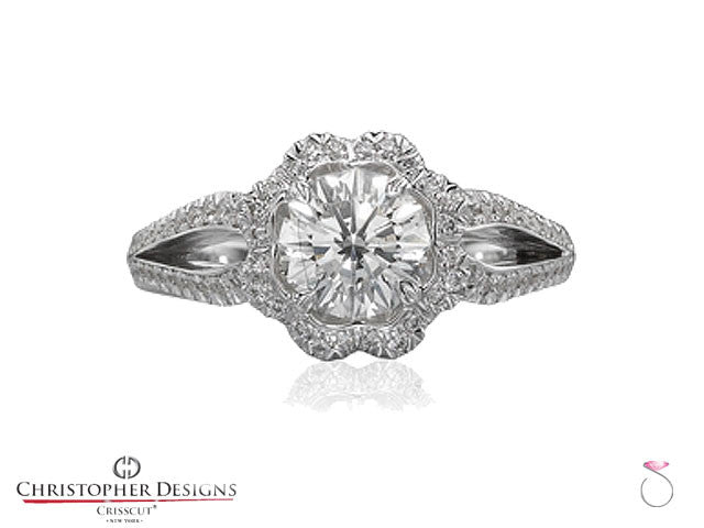 Christopher Designs Flower Halo Diamond Engagement Ring Style: G78-RD150