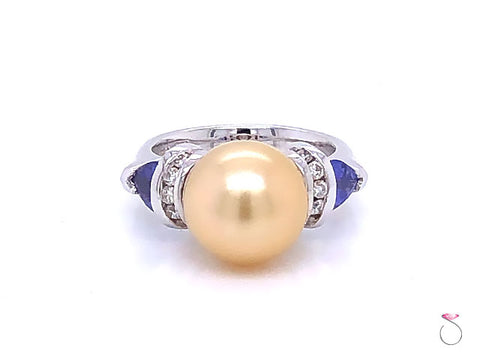 South Sea Golden Pearl, Tanzanite and Diamond Statement Ring