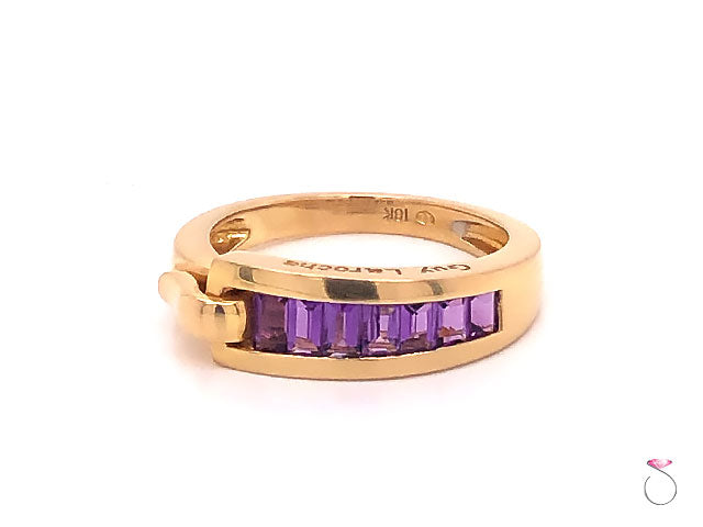 Guy Laroche Amethyst Band Ring,18K Yellow Gold Designer Ring