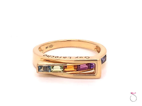 Guy Laroche MultiGemstone Rainbow Band Ring