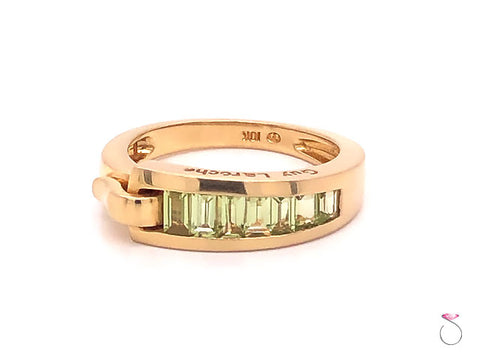 Guy Laroche Peridot Band Ring,18K Yellow Gold