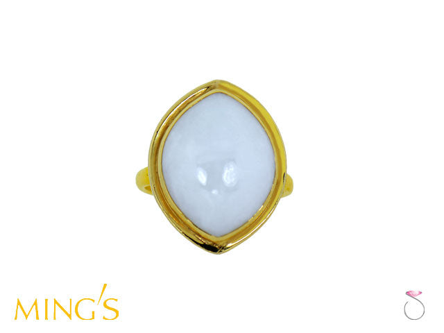Ming's Ring White Jade light Purple Overtone in 14K
