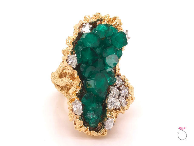 Large Chatham Crystal Emerald and Diamond Statement Ring