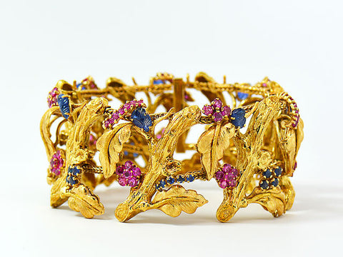 Vintage J Rossi 18K Yellow Gold Ruby & Sapphire Bracelet. Very Rare & Gorgeous