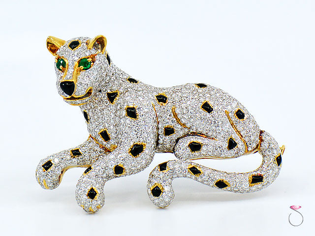 Vintage Diamond Leopard Brooch 18K White & Yellow Gold, Emerald & Onyx