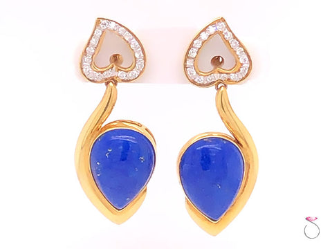 Vintage Lapis Lazuli and Diamond Dangle Earrings