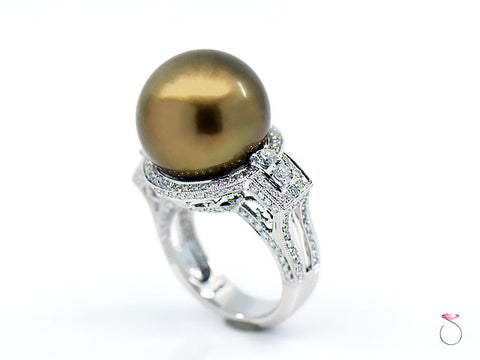 Magnificent 16.82 mm South Sea Golden Chocolate Pearl & Diamond Halo Ring, 18K