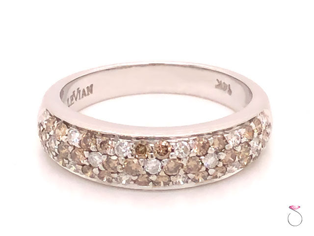 LeVian Pave White & Chocolate Floral Diamond Band Ring in 14k White Gold