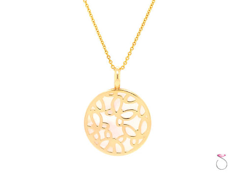 Designer Butterfly With Mother of Pearl Pendant on 14k Yellow Gold With Chain