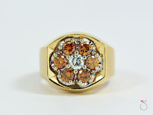 Mens Orange & White Diamond Cluster Ring, 14K Yellow Gold Pinky Ring.