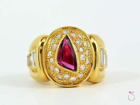 Men's Ruby & Diamond Ring, 18K YELLOW GOLD