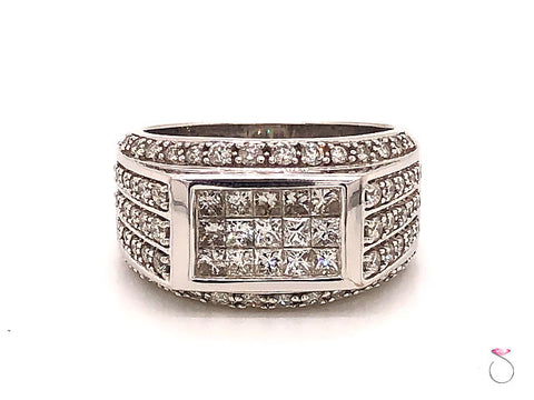 Men's Diamond Ring, 2.00 Carats Of Invisible Set Princess Cut And Round Diamonds