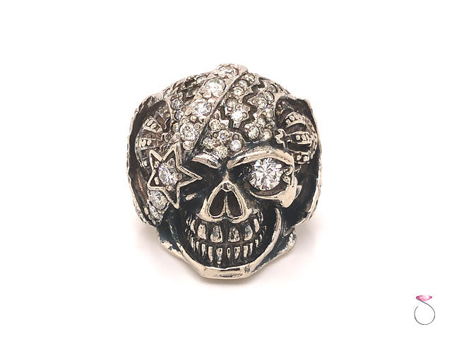 Mens Diamond Skull Ring in 14K White Gold. Gothic Ring