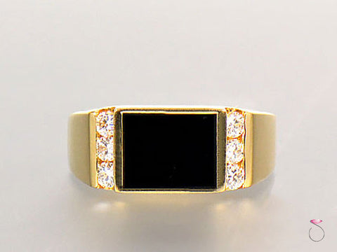 Mens Diamond & Black Onyx Ring, 14K Yellow Gold.