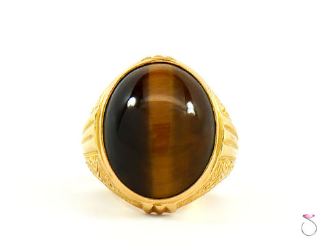 TIGERS EYE MENS RING VICTORIAN ENGRAVING