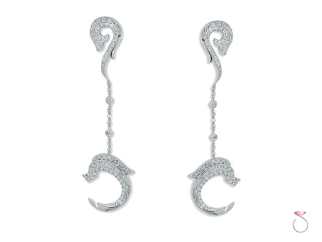 Diamond Gold Dolphin Earrings online sale Hawaii