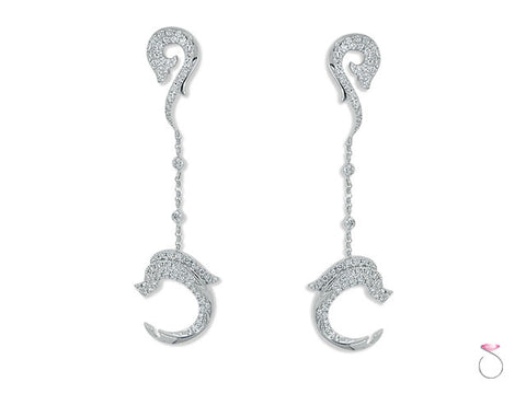 18K Gold 1.80ct Diamond Micro-pave Dolphin Earrings