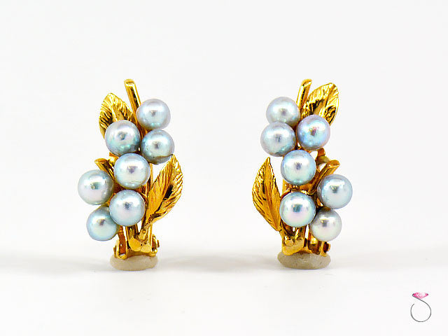MING'S HAWAII 14K SILVER BLUE PEARL CLUSTER CLIP EARRINGS