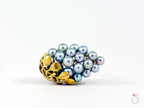Ming's Hawaii Silver Blue Pearls Large Cluster Ring in 14K