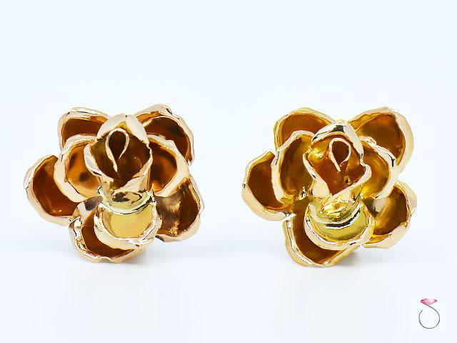 MING'S Hawaii 3D rose Earrings 14K Yellow Gold, Post & Clip Back Earrings