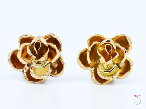 MING'S Hawaii 3D rose Earrings 14K Yellow Gold