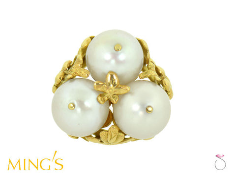 Ming's Hawaii Ring Plum Blossom 3 White Pearls in 14K