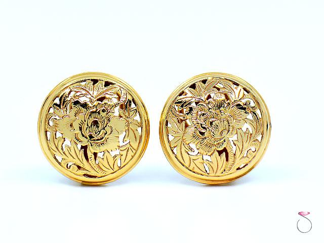 MING'S Hawaii Four Seasons Disc Earrings 14K Yellow Gold, Post & Clip back 20 MM