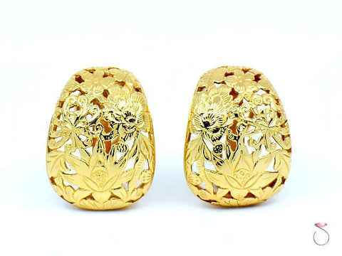 MING'S Hawaii Four Seasons Earrings 14K Yellow Gold