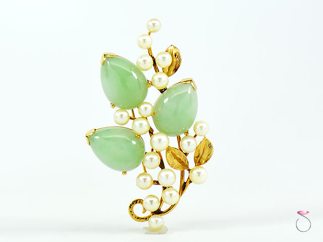 MING'S HAWAII GREEN JADE & PEARL BROOCH, 3 PEAR SHAPE CABOCHON JADES IN 14K GOLD