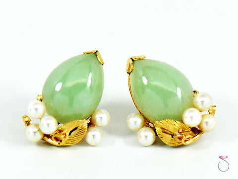 MING'S HAWAII GREEN JADE & PEARL EARRINGS