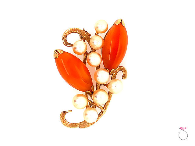 Ming's Hawaii Carnelian & Akoya Pearl 14k Yellow Gold Floral Brooch
