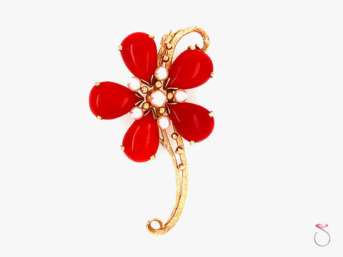 Ming's Hawaii Red Coral & Akoya Pearl 14k Yellow Gold large Flower Brooch