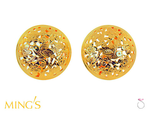 Ming's Earrings Bird on Plum Disc in 14K Yellow Gold