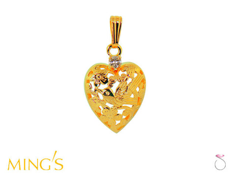 Ming's Pendant Bird on Plum Heart in 14K Yellow Gold