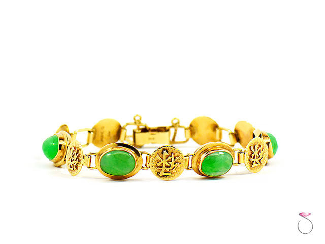 MING'S HAWAII JADE & 14K YELLOW GOLD BRACELET WITH CHINESE CHARACTERS