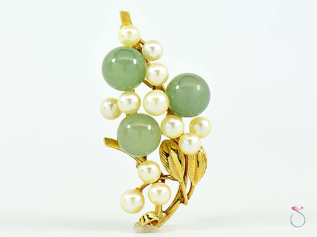 MING'S HAWAII GREEN JADE BEADS & AKOYA PEARL BROOCH IN 14K YELLOW GOLD