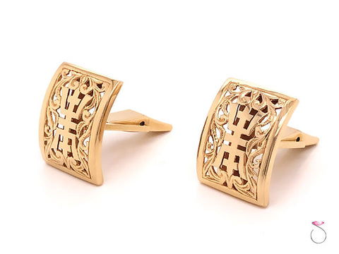 Ming's Hawaii Longevity Cufflinks In 14K Yellow Gold