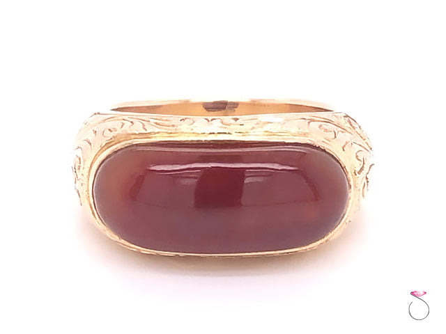 Ming's Hawaii Red Jade Hand Engraved Ring in 14K Yellow Gold