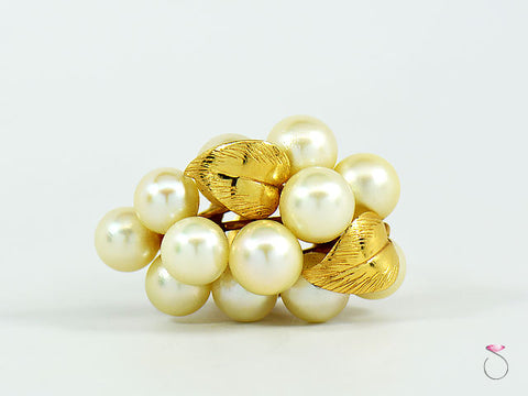 MING'S HAWAII LARGE WHITE AKOYA PEARLS GRAPE CLUSTER RING