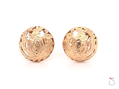 Ming's Hawaii Phoenix Dome Stud Earrings in 14K Yellow Gold