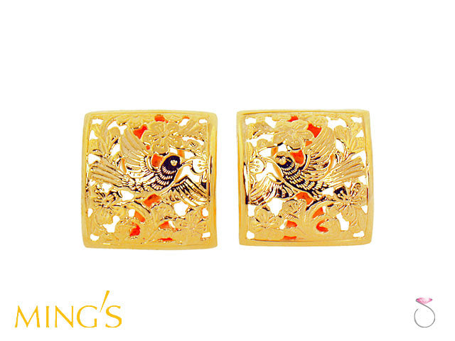 Ming's Hawaii Earrings Bird on Plum Square in 14K Yellow Gold online sale